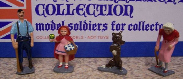 Red Riding Hood, Wolf, Granny and Woodcutter, fully painted, presented in a box